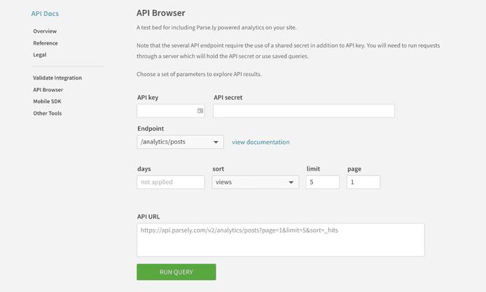 Screenshot of Parse.ly's API documentation