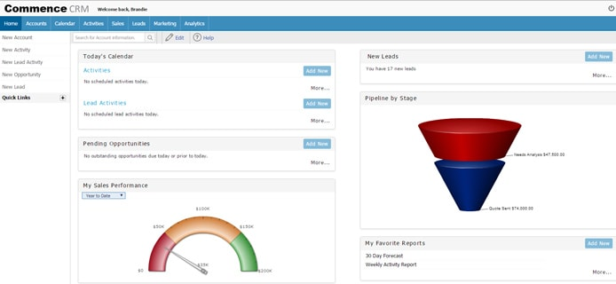Screenshot of Commence CRM