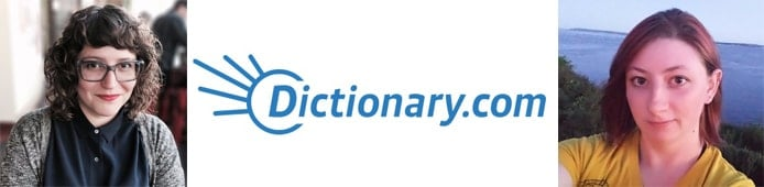 Images of Jane Soloman, Lauren Sliter, and the Dictionary.com logo