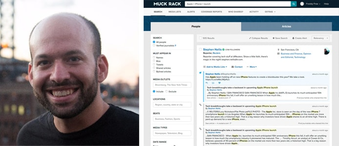 Image of Greg Galant and screenshot of Muck Rack software