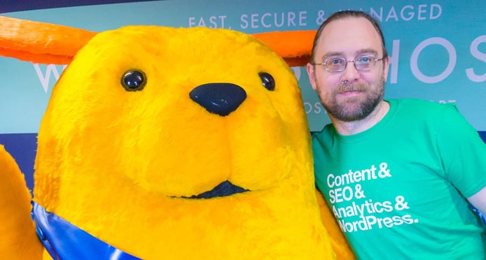 Image of 34SP.com Co-Founder Stuart Melling with WordPress mascot Wapuu