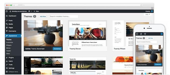 Device screenshots of WordPress