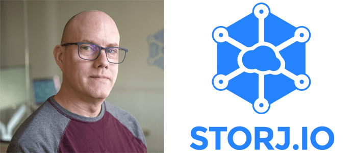 John Gleeson's headshot and the Storj logo