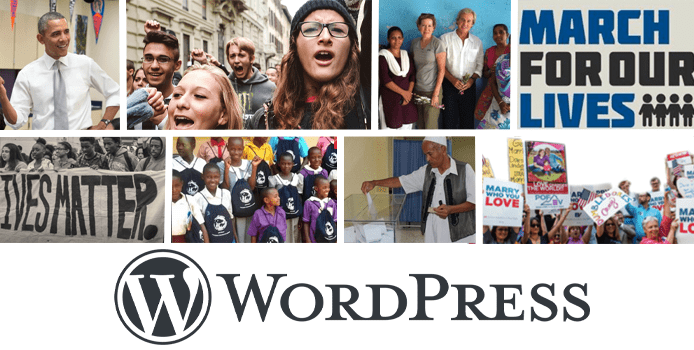 Collage of images from social activism sites powered by WordPress