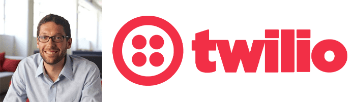 Patrick Malatack's headshot and the Twilio logo