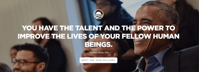 Screenshot of The Obama Foundation homepage