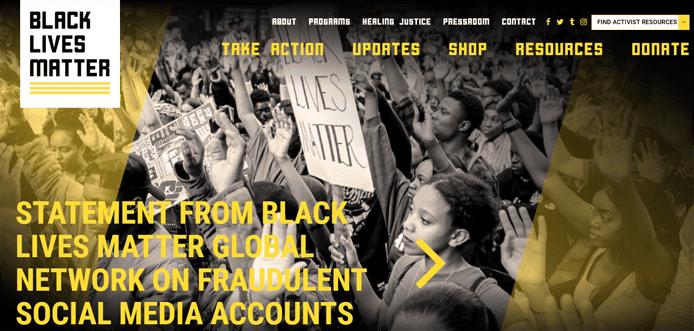 Screenshot from BlackLivesMatter.com