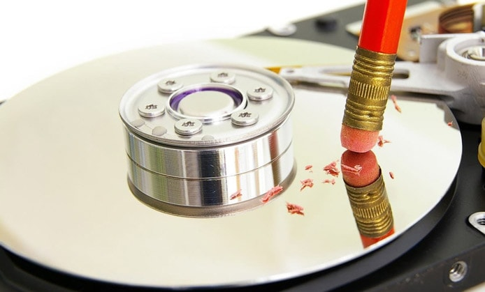 Image of HDD being 'erased' with pencil eraser