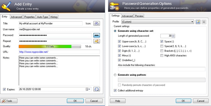 Screenshots of KeePass password generation