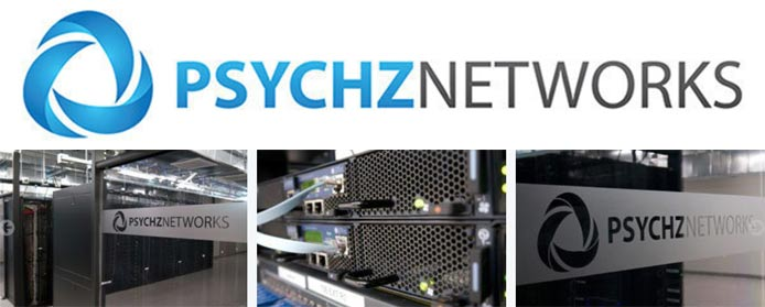 Psychz Networks logo and collage of photos from the company's datacenters