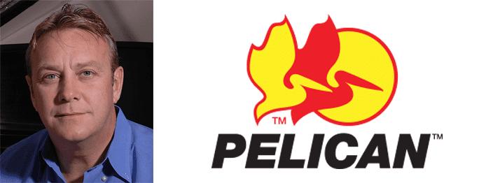 Lyndon Faulkner's headshot and the Pelican logo