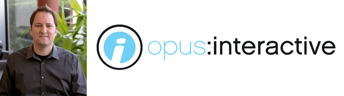 Eric Hulbert's headshot and the Opus Interactive logo