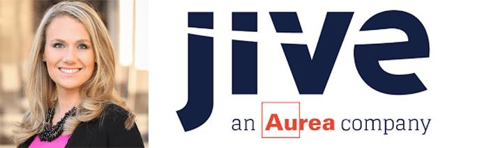 Katherine Evans' headshot and the Jive Software logo