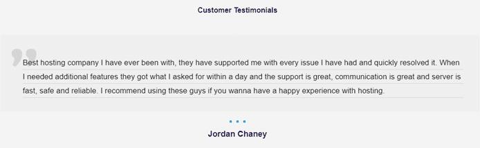 Screenshot of a customer testimonial