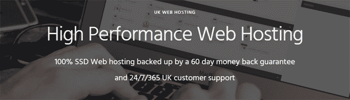 Screenshot of WebhostGB's hosting promo page