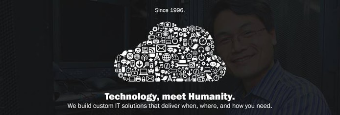"Promotional graphic with Opus Interactive's tag line: ""Technology, meet Humanity."""