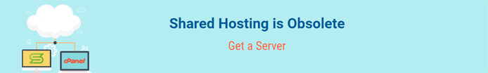 "Screenshot from Scala Hosting's website with the text ""Shared Hosting is Obsolete"""