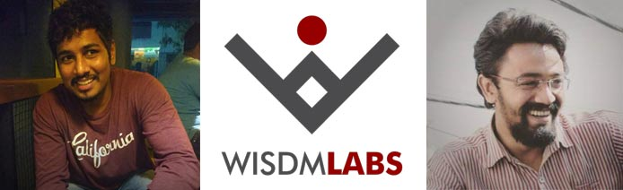 Sagar Sheral and Samrat Roy's headshots and the WisdmLabs logo