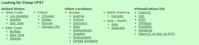 Screenshot listing regions where LowEndBox users can find deals on virtual private servers