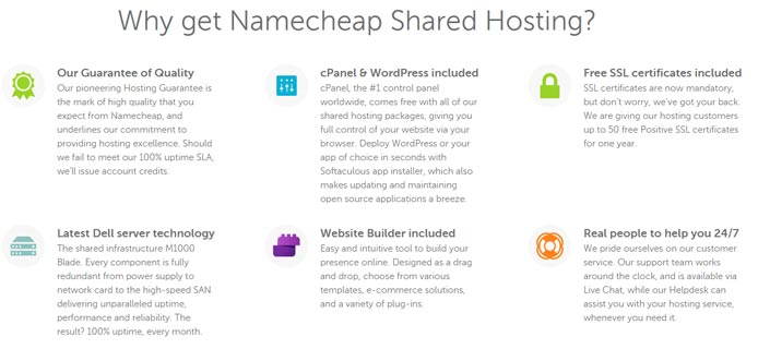Screenshot of the Stellar hosting plan feature list