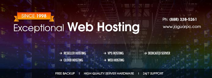 "Promotional graphic listing JaguarPC's hosting services and the text ""Exceptional Web Hosting"""