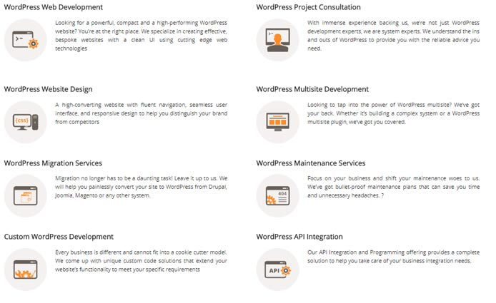 Screenshot of WisdmLabs' WordPress solutions