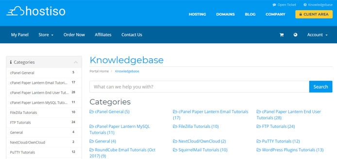 Screenshot of Hostiso knowledgebase