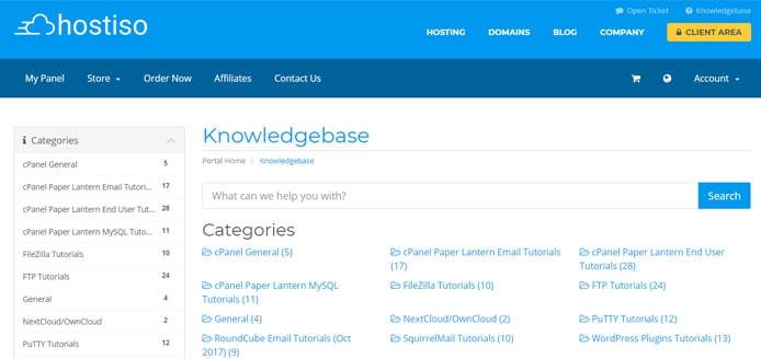 Screenshot of Hostiso knowledgebase