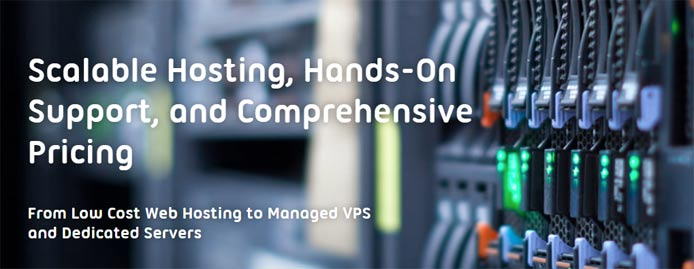 "Photo of a server and the text ""Scalable hosting, hands-on support, and comprehensive pricing"""