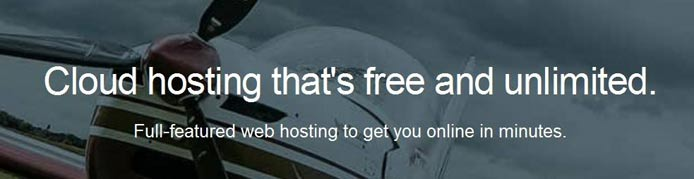 """Photo of an airplane and text saying """"Cloud hosting that's free and unlimited."""""""