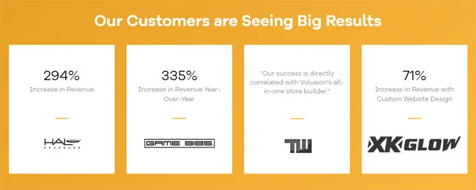 Graphic showing customer testimonials and statistics