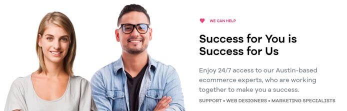 "Photo of Volusion employees and the text ""Success for you is success for us"""