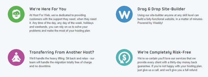 Screenshot listing HostForWeb selling points