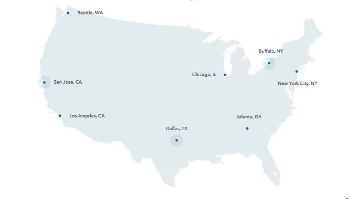 A map of the US with points indicating ColoCrossing datacenter locations