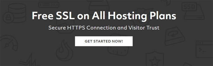 "Promotional graphic with the text ""Free SSL on All Hosting Plans"""