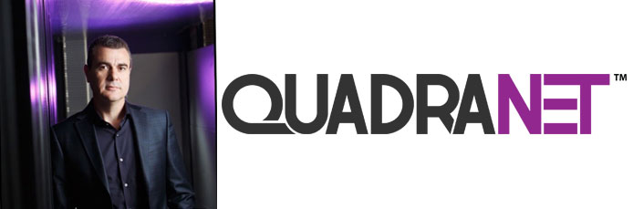 Headshot of QuadraNet CEO Ilan Mishan and QuadraNet logo.