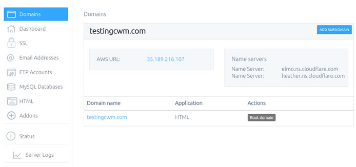 Screenshot of Cloud With Me domain manager