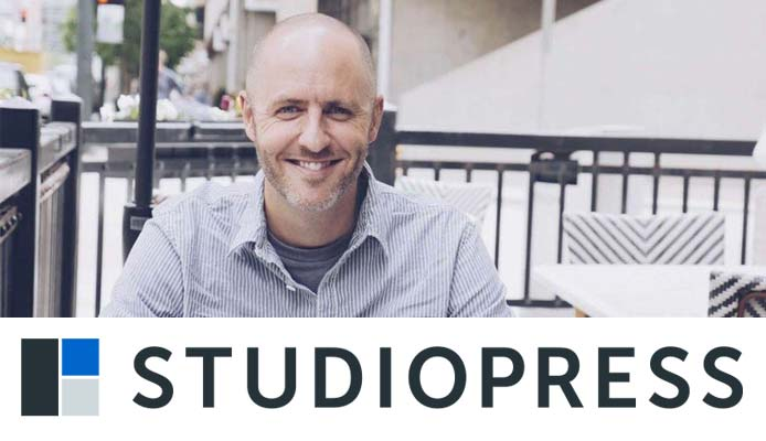 Image of StudioPress Founder Brian Gardner with the StudioPress logo