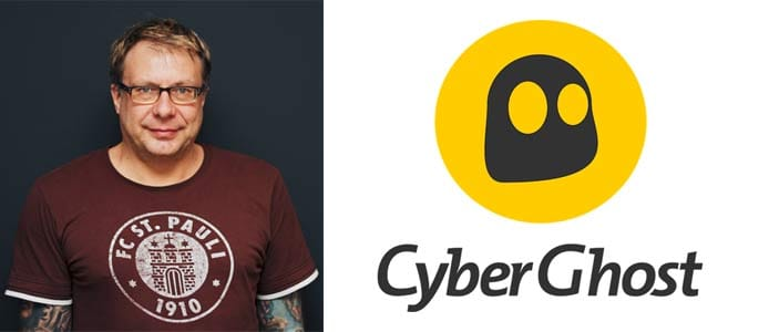 Headshot of CyberGhost Co-Founder Robert Knapp and company logo
