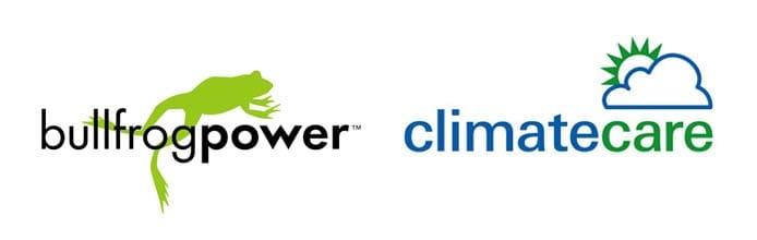 Bullfrog Power and ClimateCare logos