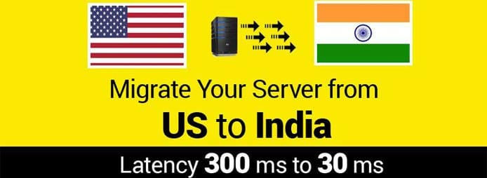 Graphic depicting benefits of migrating server to India