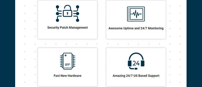 Graphic depicting features of Hostek's managed hosting solutions