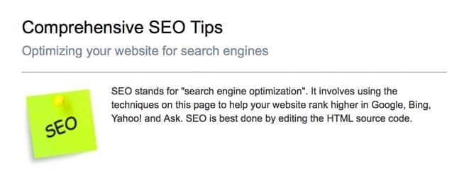 Graphic demonstrating SEO tips.