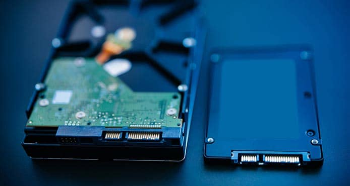 Image of a hard disk drive and solid-state drive
