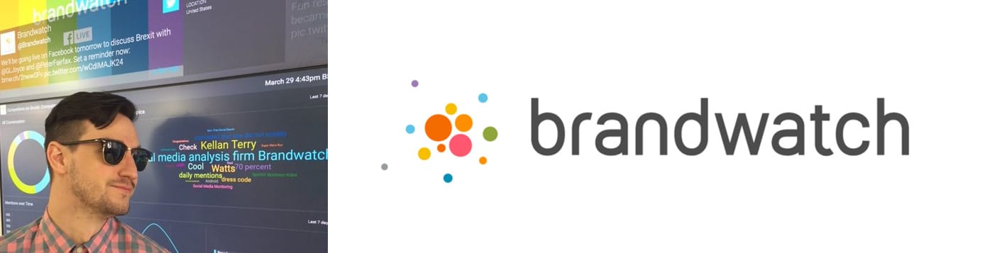 Kellan Terry, PR Data Manager at Brandwatch and company logo