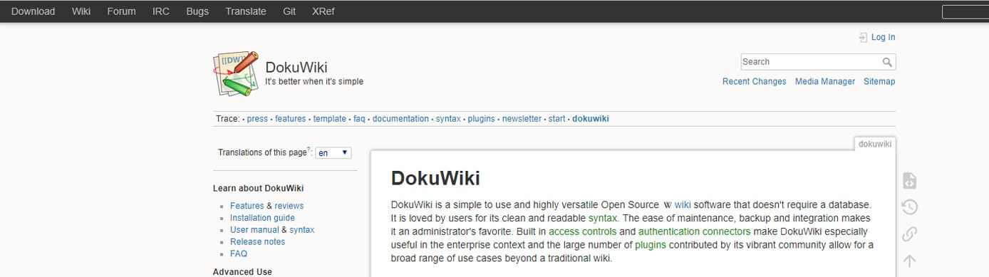 Screenshot of the DokuWiki site