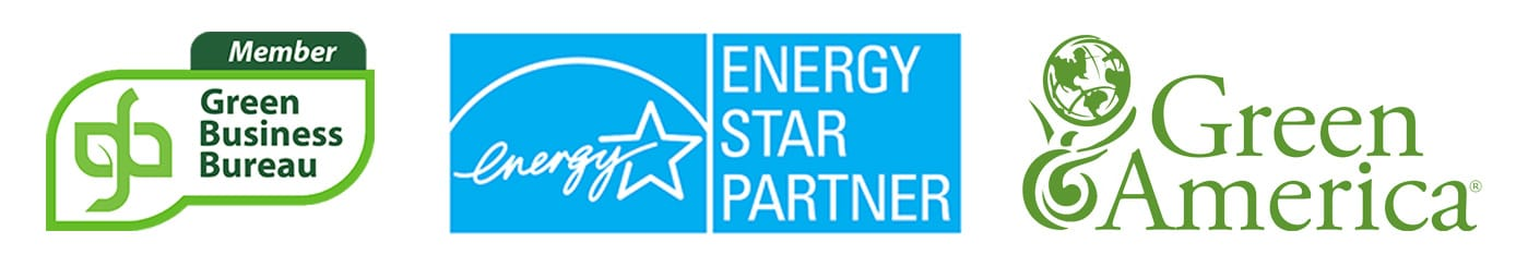 Green Business Bureau, ENERGY STAR, and Green America logos