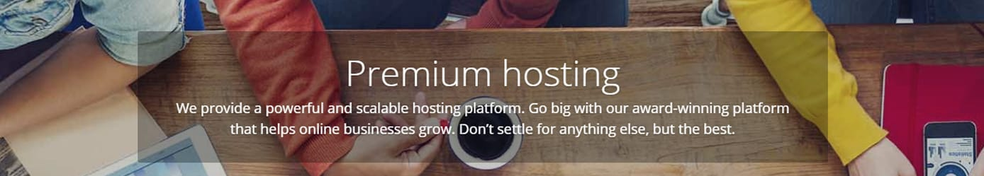 Graphic depicting premium hosting services