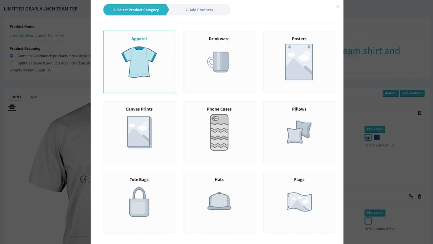 Screenshot of GearLaunch Shopify app interface