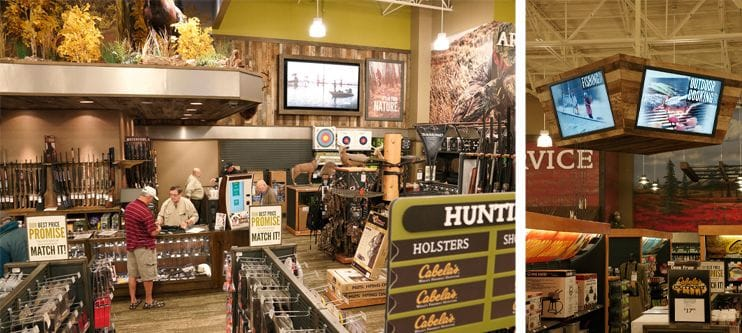 Photos of Cabela's digital signage
